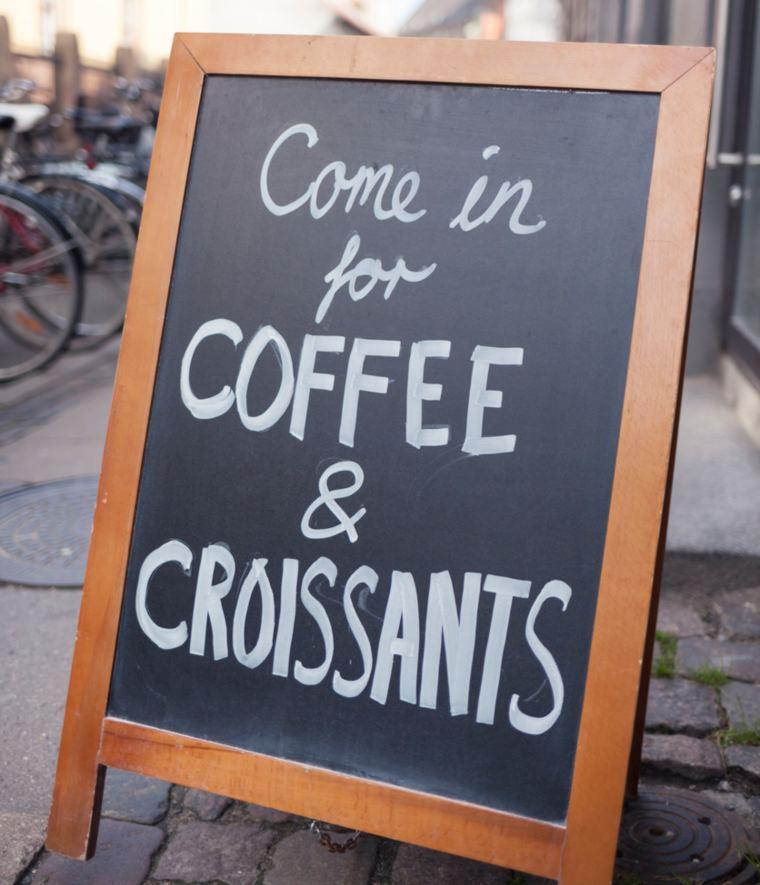 Copenhagen Coffee shop with blackboard outside