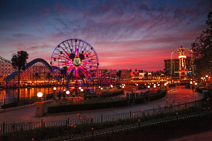 Disneyland at sunset
