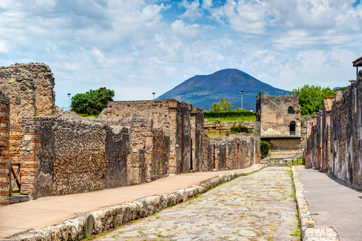 Street in Pompeii overlooking the Vesuvius, Italy