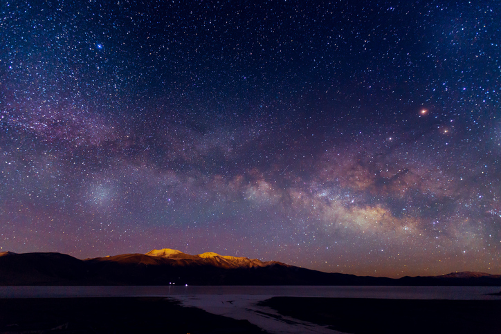 Milky way galaxy over mountain
