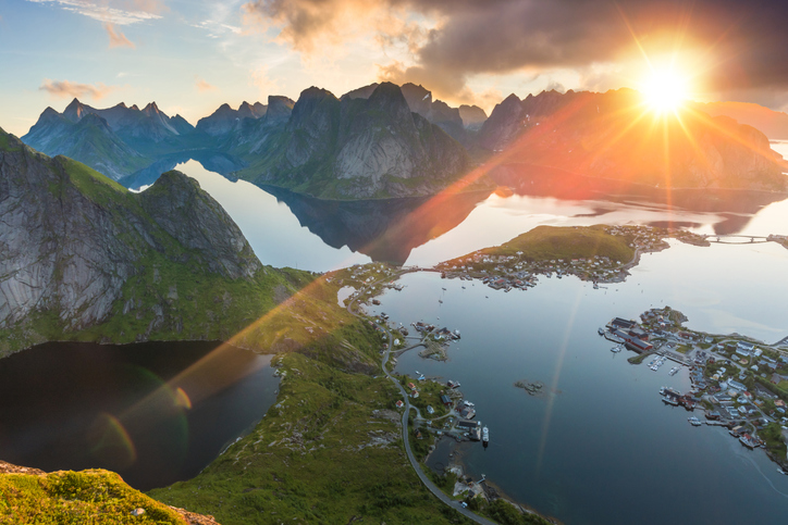Norwegian fjords with sun
