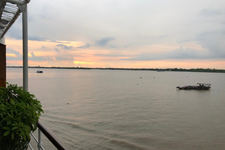 Sunset from AmaLotus on Mekong river cruise
