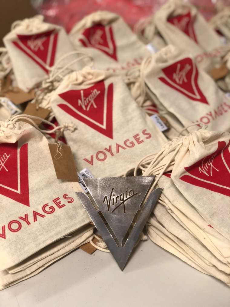 Virign Voyages steel cutting memento